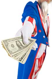 Uncle Sam handing you money because you used your IRA for California real estate investing